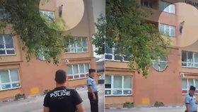 Muž v Děčíně šest hodin visel na hromosvodu, pak skočil: Sebevraždu natočili svědci