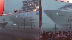 Bouře mávala s výletní lodí v Benátkách jako s hračkou! Byla neovladatelná