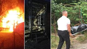 Tragický požár u Karlštejna: Hasiči v chatě nalezli mrtvolu
