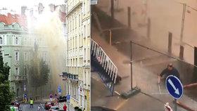 VIDEO: Prasklé potrubí způsobilo obrovský gejzír! Stovky lidí na Žižkově bez vody