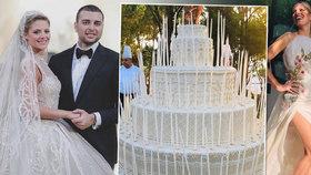 Topmodelka Kurková na miliardářské svatbě: Dort vyšší než cukráři, šaty pošité perlami