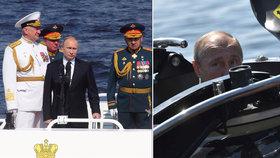 Putin se potopil v miniponorce. A násilnosti v Moskvě přečkal na vojenské přehlídce