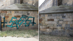 Graffiti z Karlova mostu přes noc záhadně zmizelo: Odstranili ho neodborně, pilíř se musí dočistit