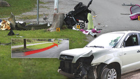 Kočárek letěl 40 metrů! Auto jelo 70 km/hod., říká svědek o nehodě v Humpolci, pří které zemřel chlapec (†2), holčička (1) je zraněná