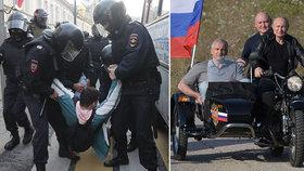 V Moskvě se zatýkalo, Putin se s Nočními vlky projížděl na Krymu. Bez helmy