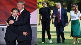 """Trumpův """"výrostek"""": Syn Barron doma všechny přerostl, tyčí se nad Melanií i svým otcem"""