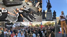 Na deset tisíc lidí prošlo Prahou: Účastníci pochodu si připomněli srpen 68 a 69 i aktuální problémy