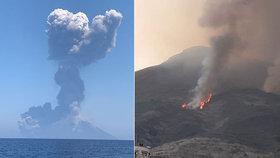 Otřesy po výbuchu sopky Stromboli cítili i turisté. Do nebe vystoupal hustý černý dým
