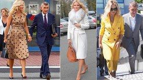 Monika Babišová s puntíky i v kabátech za statisíce: Premiérova žena okouzluje ve světě
