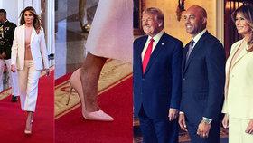 Melania Trumpová okouzlila dav na jehlách a ve světlém kostýmku. Přidala i úsměv