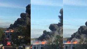Mohutná exploze u letiště: Zasahovalo přes 250 hasičů, na místě byli těžce zranění