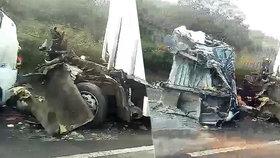 Vážná nehoda kamionů zkomplikovala provoz na D8: U dálnice přistával vrtulník