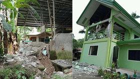 Chlapce zabila padající zeď. Zemětřesení poničilo školy i domy na Filipínách