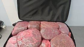 Kufry napěchované drogami! Pašerák jich převážel 33 kilo, na letišti v Praze spadla klec