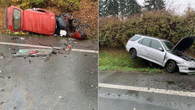 Hromadná srážka aut na Náchodsku: Těžce zraněný řidič zemřel v nemocnici