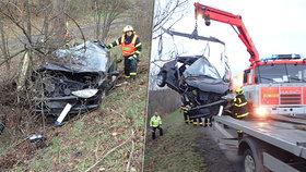 Dva mrtví při nehodě u Havířova: Řidič a spolujezdec nepřežili náraz do stromu