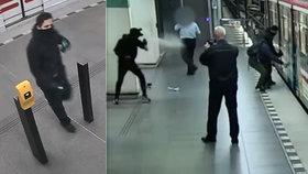 Nálet sprejerů v metru! Počmárali vagon a stříkali obsluze do očí, trojici hledá policie