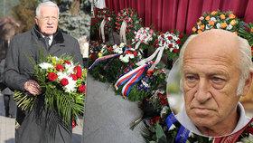 S expremiérem Stráským (†78) se loučil zaplněný hřbitov. Klaus vzpomínal na společné pochody