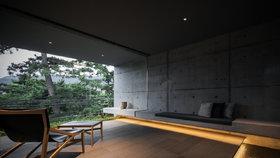 Betonová vila ukrývá zenový interiér s působivou hrou světla a stínů