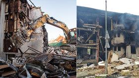 Exploze v Lenoře: Bagr začal cupovat zdemolovaný dům, 19 lidí skončilo bez domova