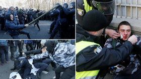 Hromadná rvačka s policisty. Před parlamentem tekla krev kvůli prodeji zemědělské půdy
