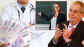 Velký přehled platů podle profesí! O kolik si polepší Miloš Zeman? A kolik přidají vám?