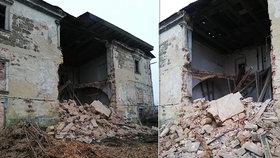 Na Českolipsku se zřítila část historické budovy: Záchranáři hledali zavalené osoby