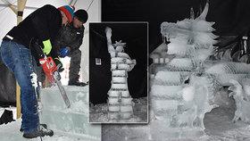 Krása ledových soch: Na Pustevnách stojí Eiffelovka, Socha svobody i čínský drak