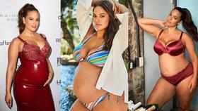 Těhotenská móda slavných XL modelek. Ashley Graham se nebojí latexu ani plavek