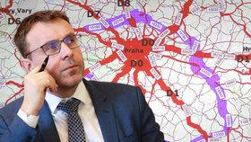 """Kremlík """"nakreslil"""" 400 kilometrů nových dálnic. Ministr chce obkroužit střední Čechy"""