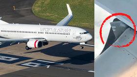 """Cestující vyděsily problémy letadla: """"Kus křídla nám plápolal ve vzduchu"""""""