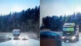 Zabiják za volantem!? Řidič golfu předjížděl v zatáčce kamion: Protijedoucí auto minul o chlup