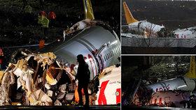 Děsivé přistání letadla na videu: 3 mrtví, 179 zraněných. Sjelo z ranveje a rozlomilo se
