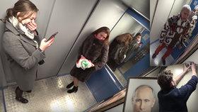 """""""Ty v*le."""" Na Rusy z výtahů vykoukl Putin, málem vyskočili z kůže. Vše zachytilo video"""