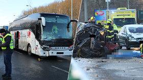 Jedna mrtvá a tři zranění v Praze 5! Nehoda auta a autobusu komplikovala provoz