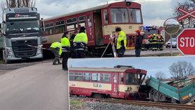 Vlak se na Nymbursku střetl s náklaďákem: Tři zraněné děti, jedno vážně!