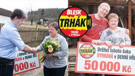Čtenářka z Maňové vyhrála v DENNÍ HŘE Trháku 50 000 Kč: Blesk jí přivezl radost