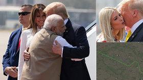 Trump se cestou do Indie obloukem vyhnul Brnu. Pak líbal Ivanku a objímal premiéra