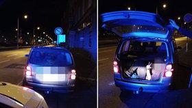 Do auta se muž nevešel, tak skončil v kufru: Během jízdy Plzní mu vykukovala jen hlava!