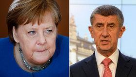 """Babiš se kvůli koronaviru opřel do Merkelové. """"Vyvolává paniku, děláme maximum"""""""