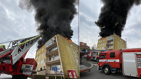Černá oblaka dýmu nad Prahou: Ve Lhotce hořela střecha paneláku