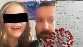 """Otce vyděsila dcera (8) zápiskem o koronaviru: """"Mám strach. Zatím na to ale nezemřelo dítě"""""""