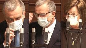 Kalousek měl velký problém s dýcháním. Schillerová v roušce slaví schodek 200 miliard