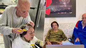 Dojemné foto: Nekončící lásku stařečků nezastavila ani karanténa! Muž své paní obarvil vlasy, aby se cítila zase šik
