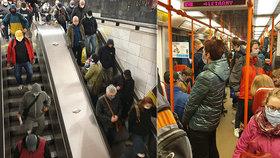 VIDEO: Takhle se dodržují opatření?! Lidé se mačkali v metru, v ranní špičce jezdilo po 10 minutách