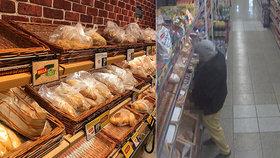 Muž v obchodě pomočil koše s pečivem! Začalo to sporem o roušku, vylíčila policie