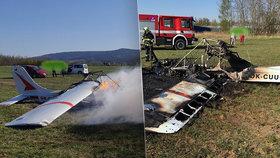 V Liberci havarovalo letadlo: Celé shořelo, svědci zachraňovali piloty!