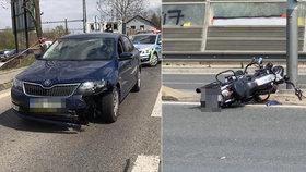 Srážka motorkáře a osobáku na Jižní spojce. Motorka přelétla protisměru: Řidič auta ujel. A měl proč!