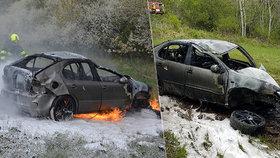 Autu se za jízdy zaseklo zadní kolo: Po nehodě tahal řidiče z hořícího Seatu náhodný svědek