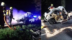 Tragická noc na Karlovarsku: V autě po nehodě uhořel řidič